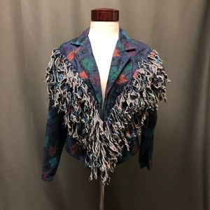 Vintage painted fringe denim jean jacket abstract